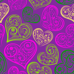 Seamless pattern of big hearts with ornament of curls, flowers and leaves, colored on purple
