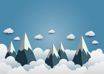 Snow Mountain with beautiful clouds.paper art.