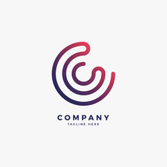 Connect C Letter Logo Design Template