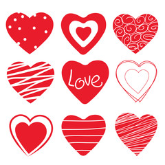 Red hearts set on white background. Vector illustration.