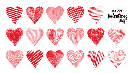 Hand drawn set of hearts. Vector illustration. Design elements for Valentine's day. Isolated on white background