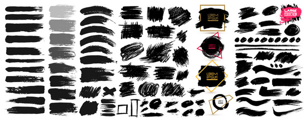 Large set of black paint, ink brush strokes, brushes, lines, grungy. Dirty artistic design elements, boxes, frames. Vector illustration. Isolated on white background. Freehand drawing