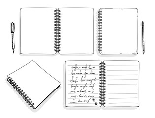 Set of sketch of notepad. Hand draw vector illustration. Isolated on white background. Freehand drawing