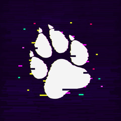Paw Prints. Logo. Vector Illustration. Isolated vector Illustration. Glitch effect. EPS Illustration.