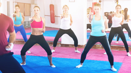 Women's group practicing self-defense