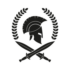 Spartan helmet, swords. Logo. Vector. Isolated.