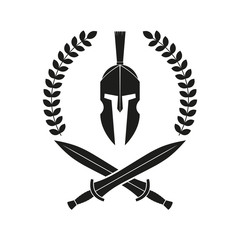 Spartan helmet, swords. Logo. Vector. Isolated.