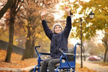 Little boy in wheelchair outdoors