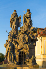 Religious statue at Charles Bridge Prague