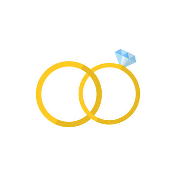 Two rings. Vector. Flat design.