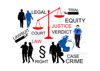 Justice Concept - equity, crime cases and trials