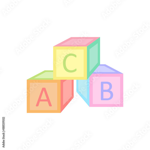 Baby Cubes Toy Vector Illustration Graphic Alphabet Blocks In