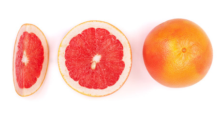 Poster Vruchten Grapefruit and slices isolated on white background. Top view. Set or collection