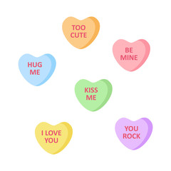 Cute heart shaped candies with love writings. Set of sweet sugar candy vector graphic icons.