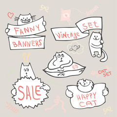 Set of hand drawing cat with banner logo vector.
