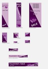 Banner Templates für Valentin in violetten Farben. Vektor Illustration