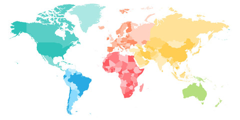 Wall Mural - Colorful political map of World divided into six continents. Blank vector map in rainbow spectrum colors.