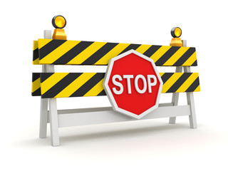 Roadblock with Stop Symbol