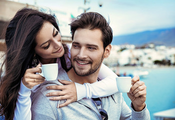 Poster Artist KB Romantic couple drinking a mornig cup of coffee