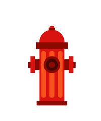 Red fire hydrant. Flat illustration