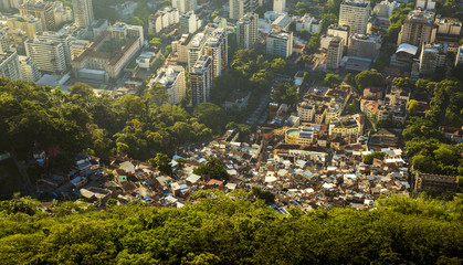 Inequality - contrast between poor and rich people in Rio de Janeiro, Brazil