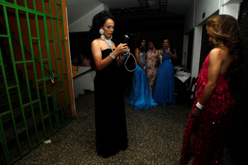 """Participants wait backstage before the beauty contest """"Mrs Colombia"""" in Medellin"""