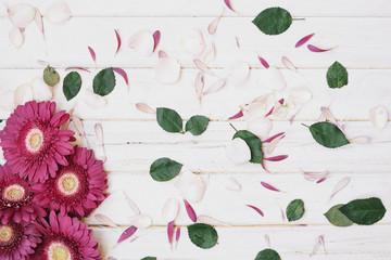 Flowers and small petals arrangement