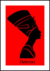 Egyptian silhouette icon. Queen Nefertiti. Vector portrait Profile isolated on red background.