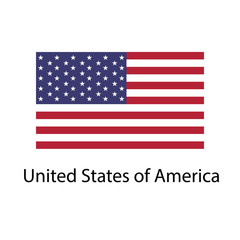 Flag of USA with name icon. Official colors and proportion correctly. National USA Flag vector. USA Flag vector illustration. National USA Flag vector