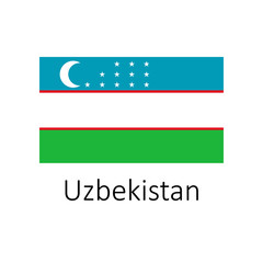 Flag of Uzbekistan with name icon. Official colors and proportion correctly. National Uzbekistan Flag vector. Uzbekistan Flag vector illustration. National Uzbekistan Flag vector