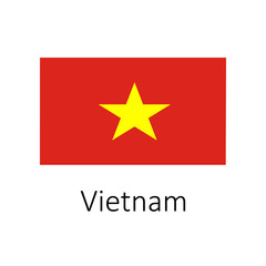 Flag of Vietnam with name icon. Official colors and proportion correctly. National Vietnam Flag vector. Vietnam Flag vector illustration. National Vietnam Flag vector