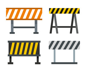 Road barrier icon set, flat style