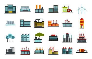 Factory icon set, flat style