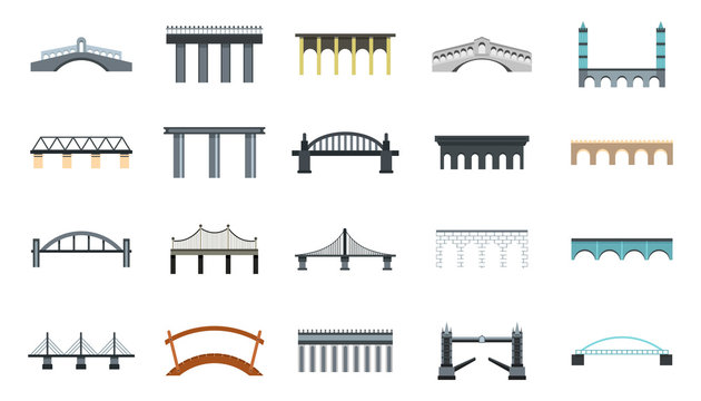 Bridge icon set, flat style