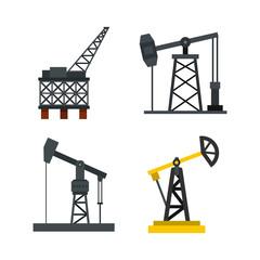 Petrol extract icon set, flat style