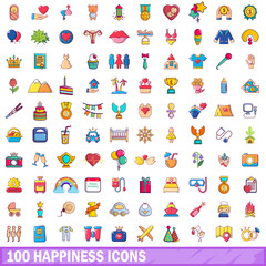100 happiness icons set, cartoon style