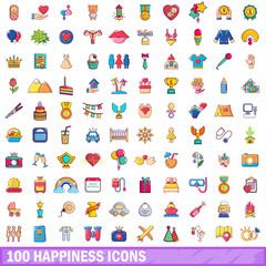 100 happiness icons set, cartoon style