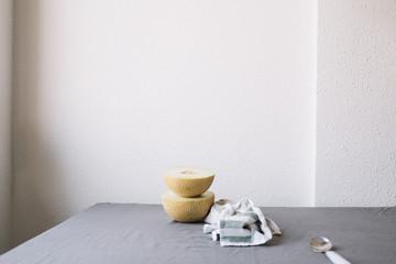 Melon in arrangement on table