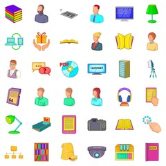 Library icons set, cartoon style
