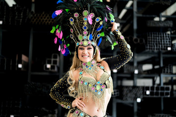 Woman dancing samba music at carnival party