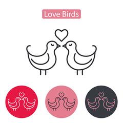 Vector Cute Couple Of Birds With Heart.