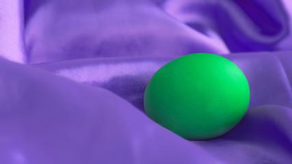 Green Egg On Violet Canvas