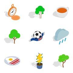 English stereotype icons set, isometric style