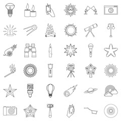 Star icons set, outline style