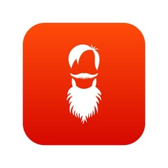 Male avatar with beard icon digital red