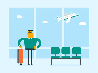 Young caucasian white airplane passenger standing at the airport with a suitcase luggage on the background of window with airplane flying in the sky. Vector cartoon illustration.