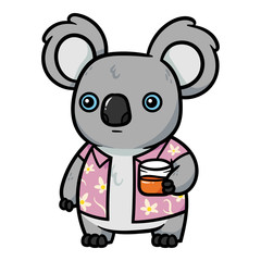Cartoon Koala With Drink Illustration