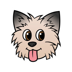 Cartoon Yorkshire Terrier Dog Head Illustration
