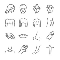 Beauty salon body parts line icon set. Included the icons as face, hair, eye, breasts, hand, hips, butt and more.
