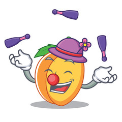 Juggling apricot mascot cartoon style